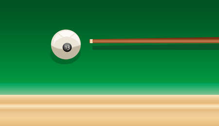 billiard cue and ball number thirteen on the green table Vector