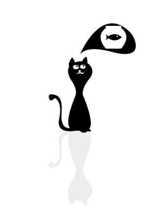 A silhouette of a cartoon cat dreaming of fish Vector