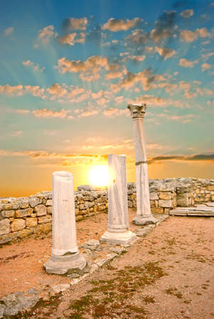 Ancient Greek columns at sunset. City of Sebastopol. Chersonesos Stock Photo - 12634595