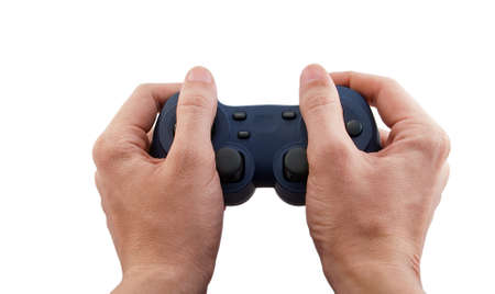The joystick for a video game in hand on white background Stock Photo