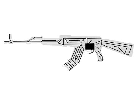 automatic: Concept Icon Digital automatic weapons Illustration