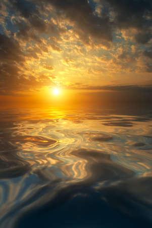 Natural sea sunset. A quiet spring evening