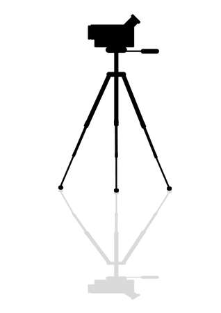 Icon of the old video camera on a tripod Vector