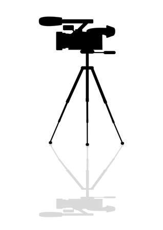 journalist: Icon professional camera on a tripod