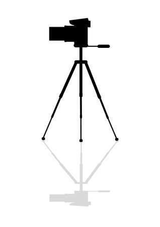 Icon Zoom digital camera on a tripod Vector