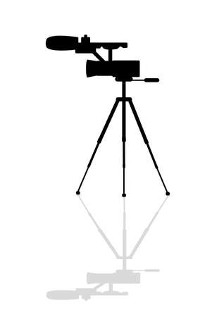Icon camcorder with a microphone on a tripod Vector