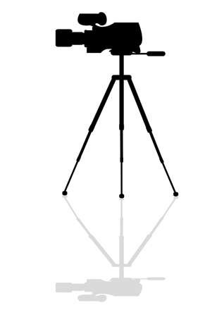 journalist: Icon professional television camera on a tripod Illustration