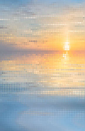 Abstract background. Pixelated image of sunset on the sea Vector