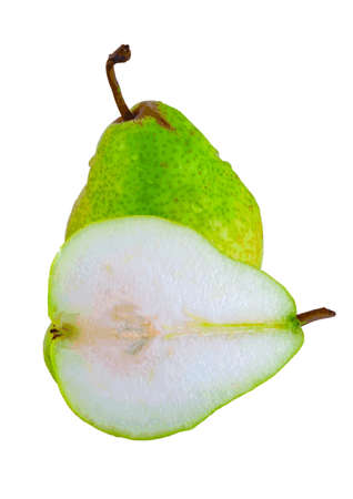 whole and half a pear on white background Stock Vector - 14158156