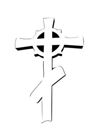 Drawing Orthodox cross on a white background  icon Stock Vector - 14158159