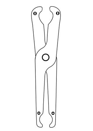 dielectric: Dielectric pliers to remove the round fuses. Vector icon