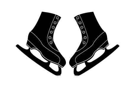 patinaje sobre hielo: Un par de patines para patinaje art�stico Vector icono Vectores