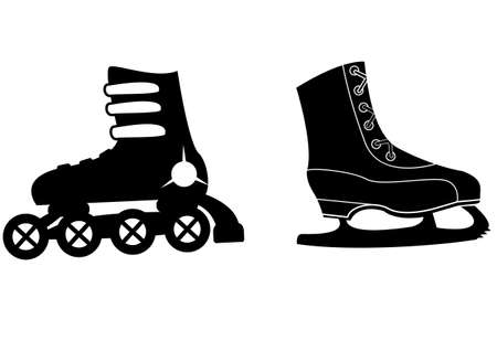 Two species of skates, roller and ice  icon Vector
