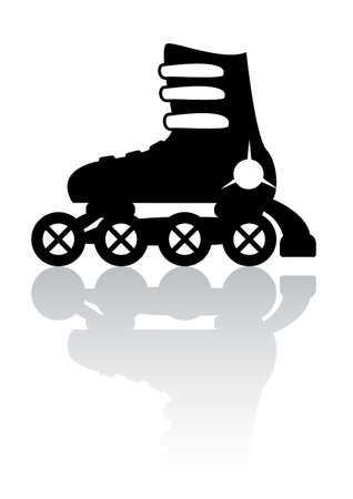Roller skates with reflection  icon Vector