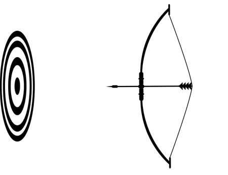Bow and arrow and the target. vector icon Vector