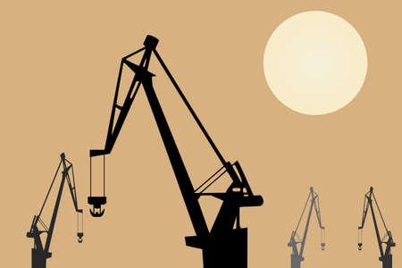 Vector drawing. Cranes at sunset Illustration