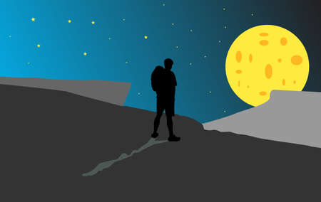 Silhouette of a man with a backpack on a background of the moon Vector