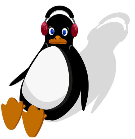 penguin is sitting and listening to music on headphones.EPS10 Vector