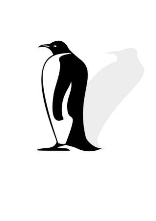 Penguin silhouette on a white background with shadow Vector