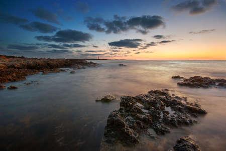 The seashore at sunset Stock Photo