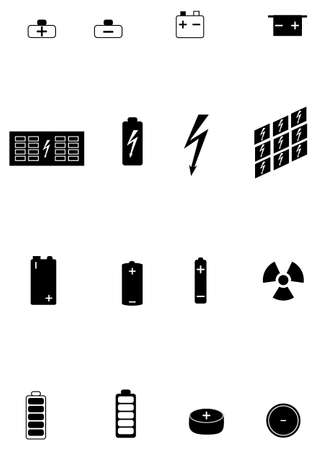 Set of icons of different types of electric batteries