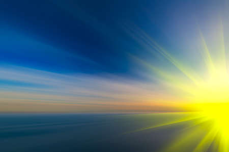Multicolored abstract sunset Flight to the star