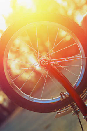 torque: Child bicycle wheel torque against the setting sun. Vintage composition