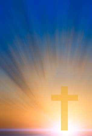 Cross of hope and faith in God and in the background rays of sunset and blue sky. religious abstract composition