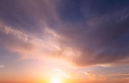Beautiful orange-purple sunset. Natural composition