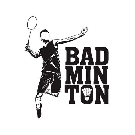 free vector badminton player Çizim