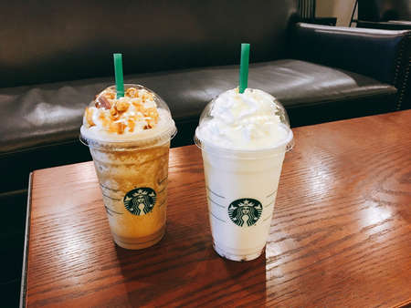 Chonburi, Thailand - May 27th 2017: Glass of Starbuck Coffee Frappuccino, Pop'zel Coffee Frappuccino and Coconut Strawberry Bliss Frappuccino.