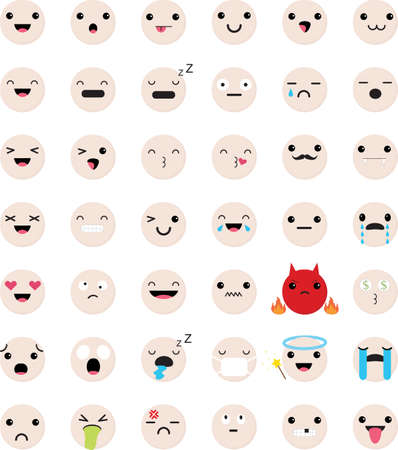 Set of Emoticons. Isolated vector illustration on white background.