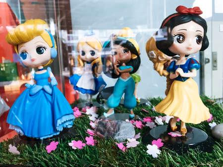 Chonburi, Thailand - Mar 3, 2018 : Princess Models Disney show in Glass cabinet. Editorial