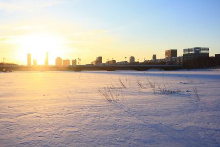 City winter sunset photo