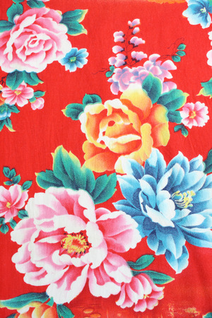 Peony pattern fabric photo