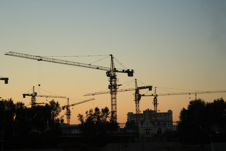 Construction site at dusk photo