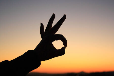 hand sign: Ok hand sign silhouette