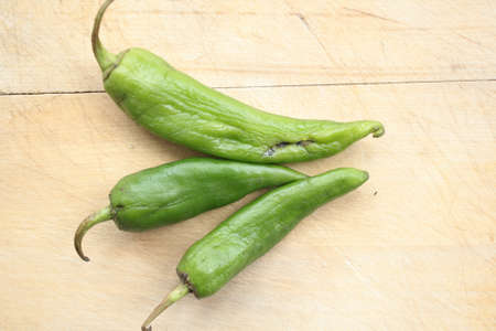 wilted: Wilted green chili pepper.