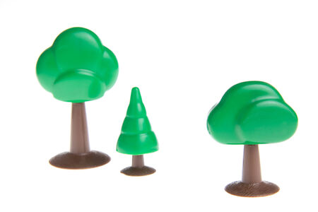 pine three: Plastic toy tree isolated on white