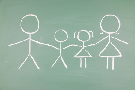 Family drawn on a blackboard photo