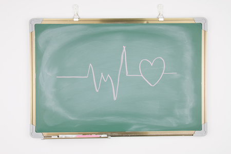 Heart drawn on a blackboard photo
