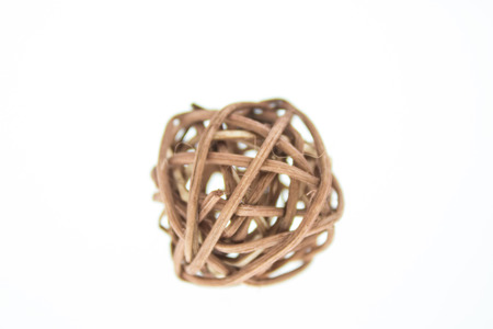 weave ball: wicker ball isolated on white background Stock Photo