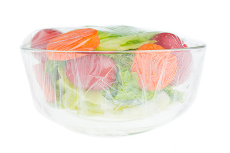 vegetable salad in glass bowl photo