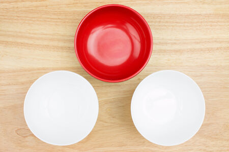 empty bowl on wooden table Stock Photo