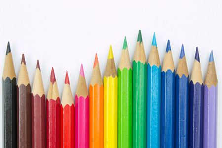 Colored pencils on white background Standard-Bild