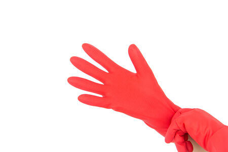 sanitizing: Hand in rubber glove isolated on white background