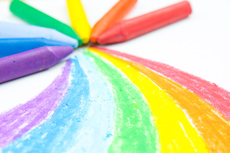 Childs rainbow crayon drawing photo