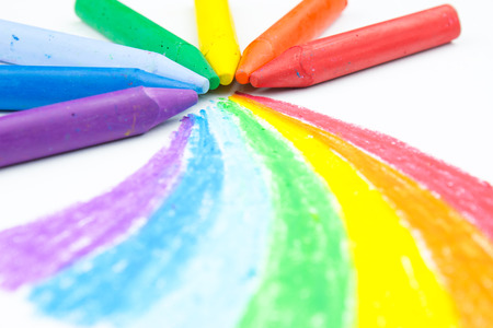 Childs rainbow crayon drawing photo
