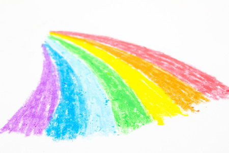 child s rainbow crayon drawing stock photo picture and royalty free