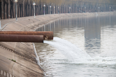 out of water: Industrial wastewater discharged into the river